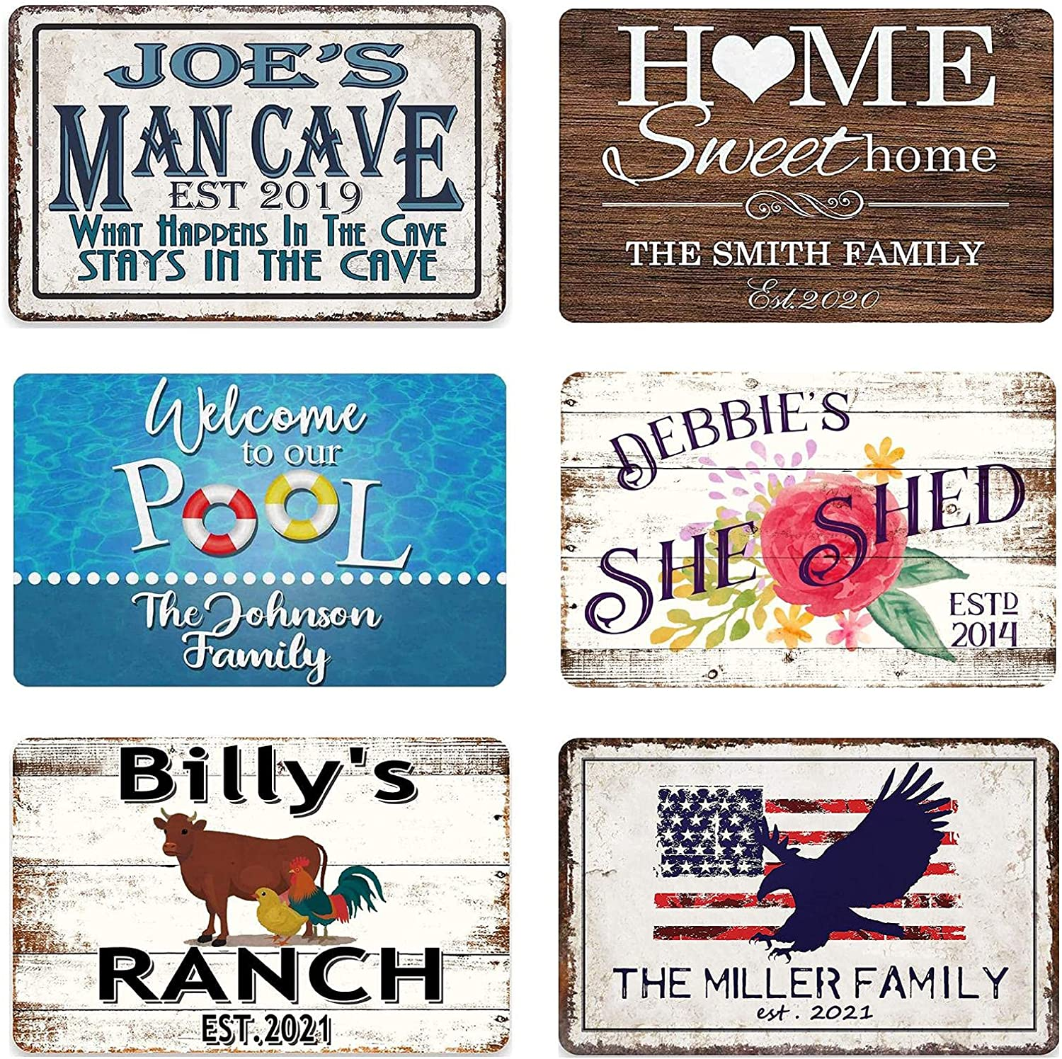 Volluroy Personalized Man Cave Metal Signs, Sweet Home Signs, Pool Signs, She Shed Signs,Ranch Signs, American Flag Eagle Sign, Custom Home Room Bedroom Wall Decor Plaque 8