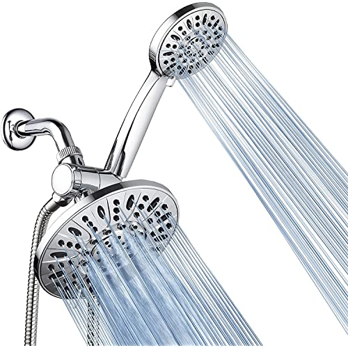 AquaDance 7  Premium High Pressure 3-Way Rainfall Combo for The Best of Both Worlds - Enjoy Luxurious Rain Showerhead and 6-Setting Hand Held Shower Separately or Together - Chrome Finish - 3328