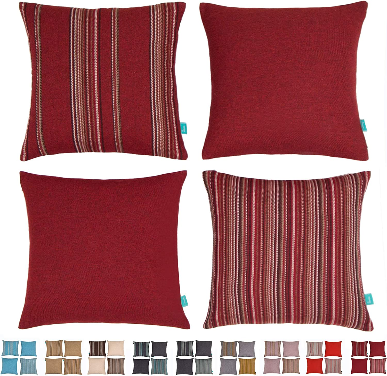 HPUK Maroon Striped Throw Pillow Covers Set of 4 Plaid Red Cushion Cases for Couch, Sofa, Bedroom, Living Room, Bedroom Holiday Decor, 18