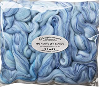 Merino Bamboo Fiber Blend. Super Soft Combed Top Roving for Hand Spinning, Needle Felting, Wet Felting, soap Making and Dr...