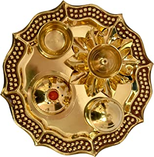 Modern Gift Centre 10 inches Pure Brass Pooja thali | Plate (Classic Occasional Gift, Pooja thali Decorative, Return Gift)