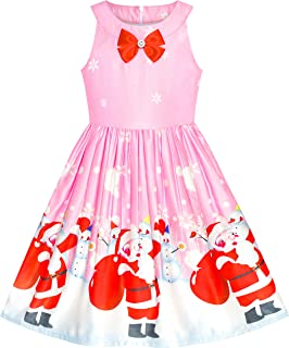 Sunny Fashion Girls Dress Christmas Eve Christmas Tree Snow Reindeer Party Size 7-14 Years