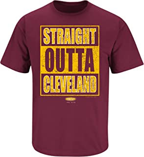 Smack Apparel Cleveland Basketball Fans. Straight Outta Cleveland. Maroon T Shirt (Sm-5X)