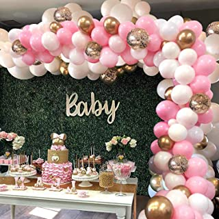 LELE Pink Balloon Arch Garland Kit - 115 Pcs White Pink Gold and Gold Confetti Latex Balloons for Baby Shower Wedding Birt...