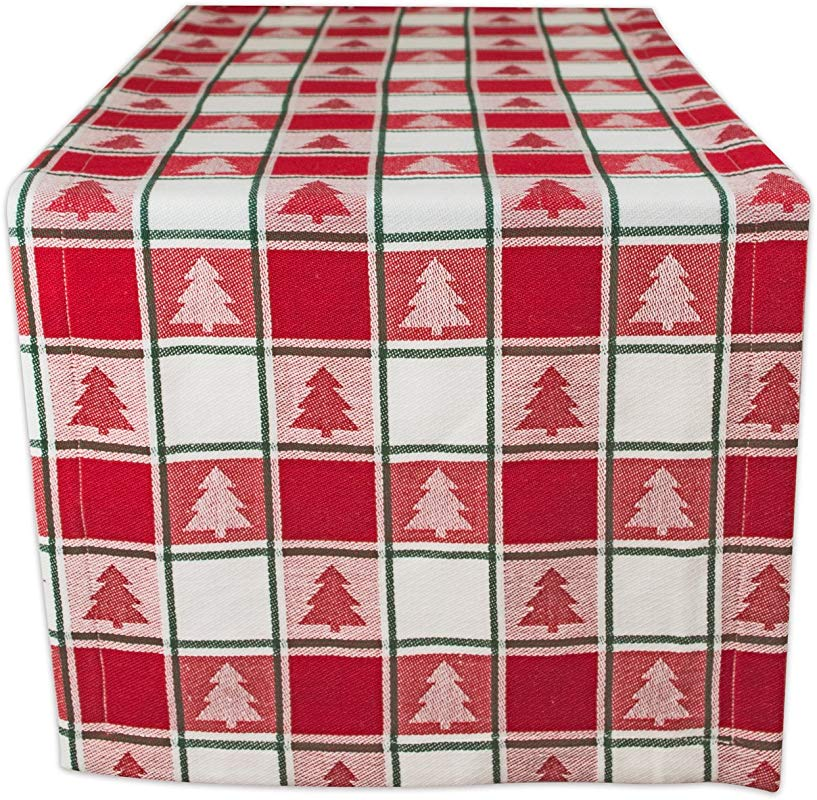 DII Red White Check With Christmas Tree 100 Cotton Table Runner Machine Washable For Holiday Gatherings Dinner Parties Christmas 14x72