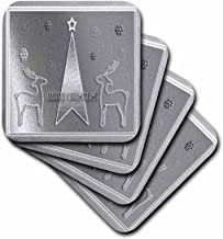 3dRose cst_15272_3 Silver Reindeer and Tree, Merry Christmas-Ceramic Tile Coasters, Set of 4