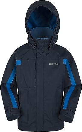 Mountain Warehouse Samson Kids Waterproof Jacket - Taped Seams Rain Jacket, Adjustable Cuffs, Hem & Hood Girls Jacket, Mesh Lined -Ideal Triclimate Coat for Cold Weather