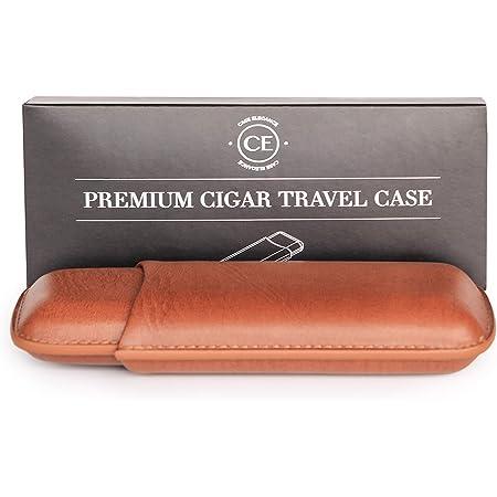 CASE ELEGANCE Two Cigar Travel Vegan Leather Case in Chestnut Brown