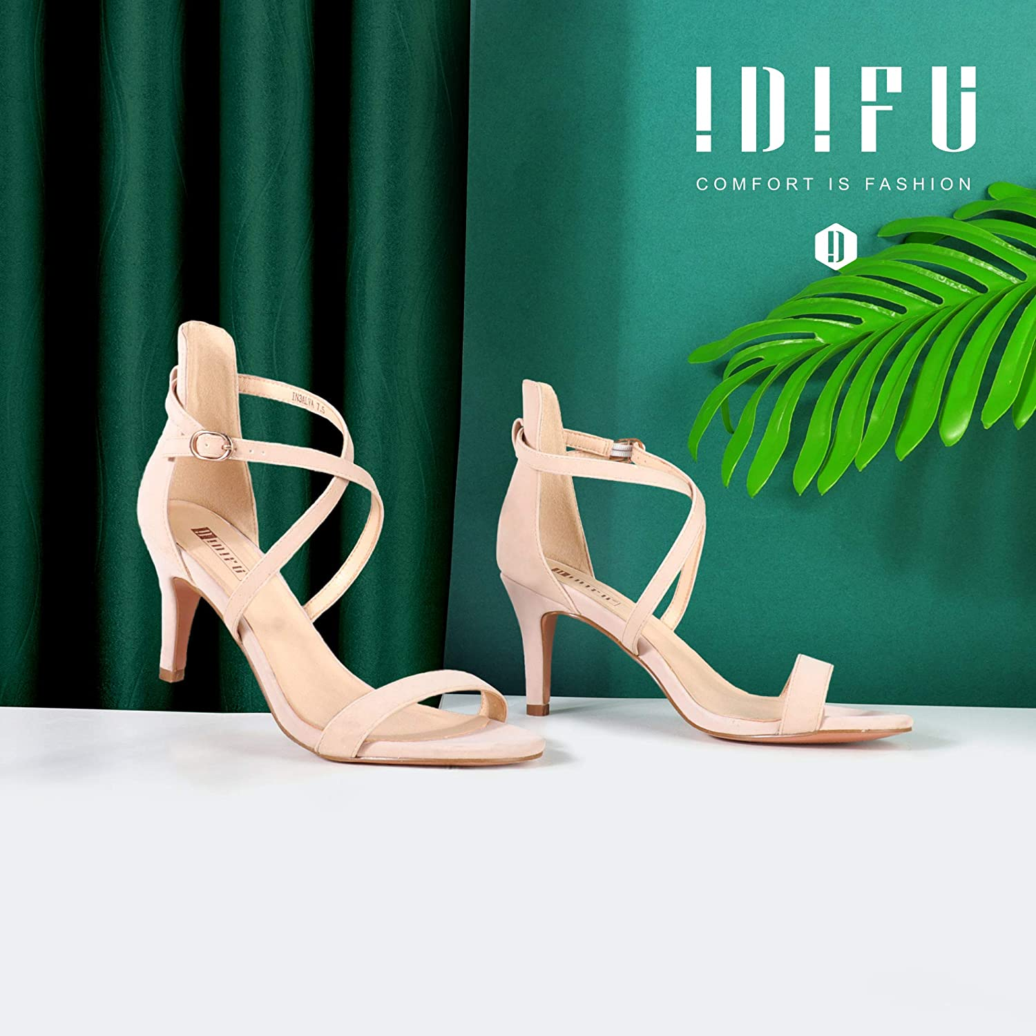 IDIFU Womens Silvia Cross Strappy Sandals Heels 3 Inch Open Toe Ankle Strap Wedding Party Dress Heeled Shoes