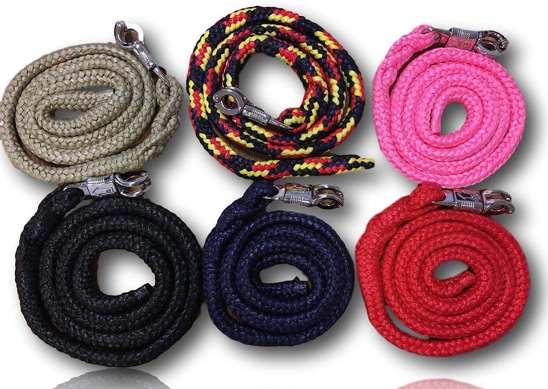 Cuerda de guía con gancho de pánico, para caballos, ponis, Shetty, burro, en muchos diseños elegantes, longitud 1,60 m, color negro