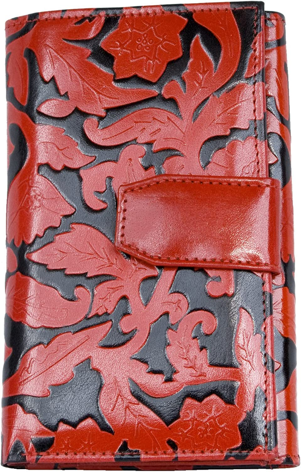 Women's Black-red Clear Coated Genuine Leather Wallet with Ornamental Leaves Stamping