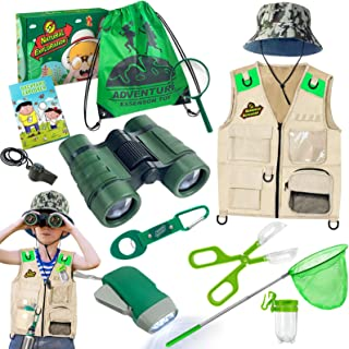 ESSENSON Outdoor Explorer Kit & Bug Catcher Kit with Vest, Binoculars, Magnifying Glass, Butterfly Net, Hat and Backpack C...