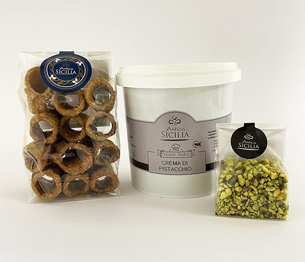 Nutella crema di pistacchio 1kg, piu` 12 cannoli siciliani, piu` 50 gr.  di granella di pistacchio