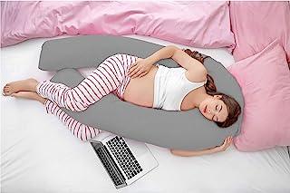 Hometex Almohada de Apoyo para Embarazo en Forma de U de 2,7 m con Funda (Funda Gris)