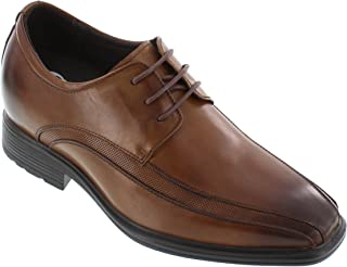 Men's Invisible Height Increasing Elevator Oxfords Shoes - Brown Leather Lace-up Dress Derby - 3 Inches Taller - G60126B
