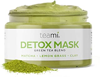 Teami Green Tea Matcha Detox Face Mask - Deep Pore Cleansing & Hydrating Blackhead Remover Mud Mask with Bentonite Clay, F...