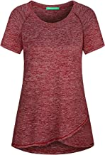 Kimmery Woman Raglan Sleeve Round Neck Irregular Hem Yoga Workout Shirt