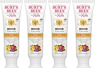 Burt's Bees Kids Toothpaste with Fluoride, Fruit Fusion, 4.2 oz, Pack of 4
