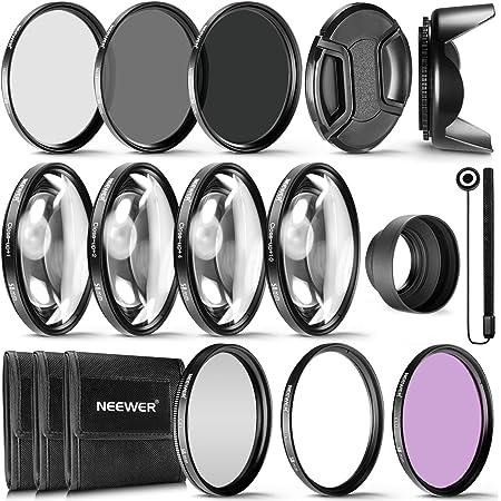 Neewer® Kit Complet d'accessoires de Filtre d'objectif 58 mm pour objectifs avec Filtre 58 mm : UV CPL FLD + kit Macro Gros Plan (+1 +2 +4 +10) + Filtre ND (ND2 ND4 ND8) + Autres