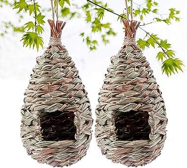 Kimdio Hummingbird Birdhouse for Outside Hanging, Grass Hand Woven Bird Nest, Natural Bird Hut for Outdoor (2 Pack)