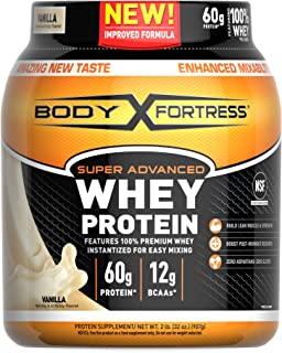 Body Fortress Super Advanced Whey Protein Powder, Gluten Free, Vanilla, 2 Pound