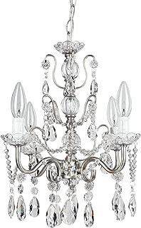 Amalfi Decor 4 Light LED Crystal Beaded Chandelier, Mini Wrought Iron K9 Glass Pendant Light Fixture Vintage Nursery Kids Room Dimmable Plug in Hanging Ceiling Lamp, Silver