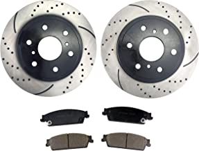 Atmansta QPD10054 Rear Brake kit with Drilled/Slotted Rotors and Ceramic Brake pads for Cadillac Escalade Chevrolet Avalanche GMC Yukon