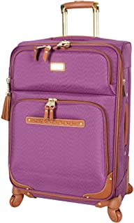 Steve Madden Designer Luggage Collection - Expandable 24 Inch Softside Bag - Durable Mid-sized Lightweight Checked Suitcase with 4-Rolling Spinner Wheels (Global Purple)