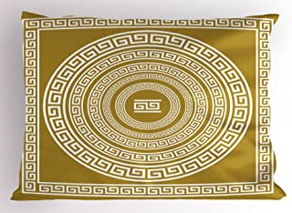 Ambesonne Greek Key Pillow Sham, Frieze with Vintage Ornament Meander Pattern from Greece Retro Twist Lines, Decorative Standard Size Printed Pillowcase, 26