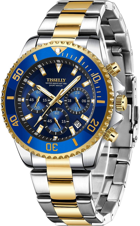 Mens Watch,Chronograph Stainless Steel Waterproof Luxury Date Analog Quartz Watch Business Wrist...