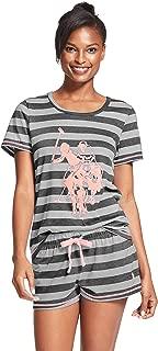 Womens Short Sleeve Shirt and Pajama Shorts Lounge Sleep Set