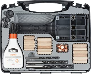 wolfcraft Universal-Meisterdübler-Set 4645000 | 78-teiliges Komplett-Starter-Set zur Herstellung von sauberen Holzverbindu...