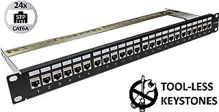 24-Port CAT6A FTP Shielded 1U Patch Panel 19-Inch Loaded w/Tool-less Keystone Jacks Rackmount or Wallmount