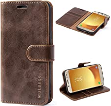 Mulbess Galaxy J5 2017 Protective Cover, Magnetic Closure RFID Blocking Luxury Flip Folio Leather Wallet Phone Case with Card Slots and Kickstand for Samsung Galaxy J5 2017, Coffee Brown