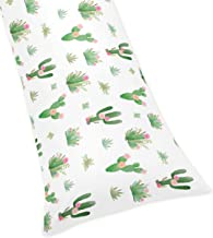 Pink and Green Boho Watercolor Body Pillow Case Cover for Cactus Floral Collection (Pillow Not Included)