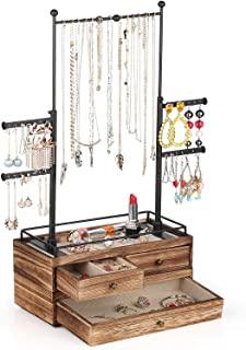Jewelry Organizer - 2 Layer Wooden Jewelry Drawer Storage Box with 6 Tier Jewelry Tree Stand, Jewelry Display for Necklace...