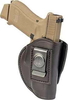 4-Way Glock 19 Holster - OWB and IWB CCW Holster - Right Handed Leather Gun Holster - Fits G19, Beretta 92FS, Springfield XD9 & XD40, G17, 20, 21, 25, 31, 32, 38