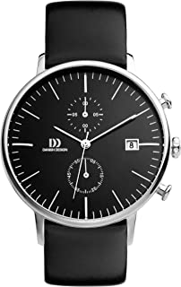 Danish Design Men's Quartz Watch with Black Dial Chronograph Display and Black Leather Strap DZ120140