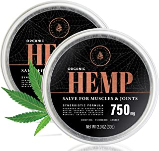 (2-Pack) Organic Hemp Salve - 750MG - Anti Inflammatory Cream Formula for Back, Joints & Muscles - Handmade with Arnica Montana, Menthol, Aloe Leaf, Shea Butter, Cacao Butter & Turmeric - 2oz
