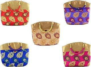 GoldGiftIdeas Silk Women Potli Purse for Wedding, Bridal Clutch, Potli Bags for Return Gift, Traditional Party Favor Bags, Indian Potli Purse for Wedding (Set of 5)