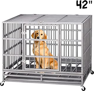 Lemberi Heavy Duty Dog Cage Crate Kennel Playpen Strong Mental for Large Dogs and Pets, with Lockable Wheels and Two Prevent Escape Lock(42Inch 48Inch)