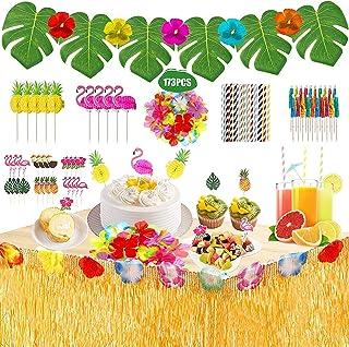 173PCS Hawaiian Tropical Party Decorations Hawaiian Luau Grass Table Skirt Set Hawaiian Party Accessories for Jungle Beach...