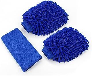 almondcy Auto Reinigung Mikrofaser Mitt–Wash Handschuhe 2Stück mit Reinigungstuch Best für Auto Fenster und Home Reinigung (blau)