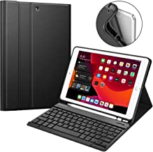 """Fintie Keyboard Case for New iPad 7th Gen 10.2 Inch 2019, Soft TPU Back Protective Stand Cover with Built-in Pencil Holder, Magnetically Detachable Wireless Bluetooth Keyboard for iPad 10.2"""", Black"""