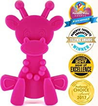 Baby Teething Toy Extraordinaire - Little Bambam Giraffe Teether Toys by Bambeado. Our BPA Free Teethers Help take The Stress Out of Teething, from Newborn Baby Through to Infant - Magenta