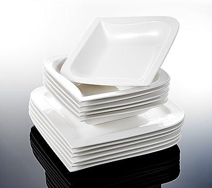 Preisvergleich für MALACASA, Serie Joesfa, Cremeweiß Porzellan Tafelservice 24 TLG. Set Kombiservice Geschirr Set mit je 12 Flachteller, 12 Suppenteller für 12 Personen