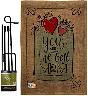 The Best Mom Garden Flag - Set with Stand Family Mother's Day Mama Grandma Love Flowers Parent Sibling Relatives Grandpare...