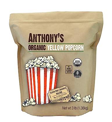 Anthonys Organic Yellow Popcorn Kernels, 3 lb, UnPopped, Gluten Free, Non GMO
