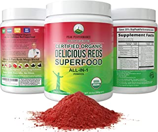Organic Reds Superfood Powder. Best Tasting Organic Red Juice Super Food with 25+ All Natural Ingredients and Polyphenols....