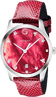 G-Timeless Mother of Pearl Dial Leather Strap Ladies Watch YA1264041